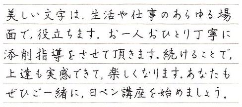 がくぶん・日ペンの「ペン習字・ボールペン字講座」の書風